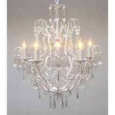 "Wrought Iron Crystal Chandelier Chandeliers Lighting H27"" x W21"" SWAG PLUG IN-CHANDELIER W/ 14' FEET OF HANGING CHAIN AND WIRE!"