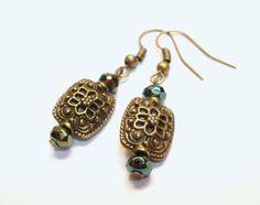 Czech Crystal Flower Earrings by designsbylaurie on Etsy, $8.00