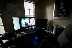 My Humble Battlestation. Editing Suite, Offices, Techno, Home Office, Studio, Dark, Music, Room, Beautiful