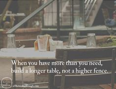 Food Quotes - Batter and Dough - When You Have More Than You Need, Build A Longer Table, Not A Higher Fence. | Food Quotes | Ofbatteranddough.com