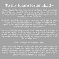 An open letter to my future foster children.  #fostercare                                                                                                                                                                                 More