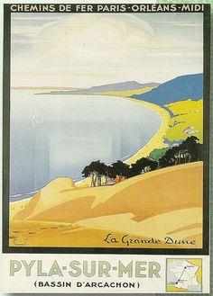 Vintage Railway Travel Poster - Pyla-sur-Mer - La Grande Dune.