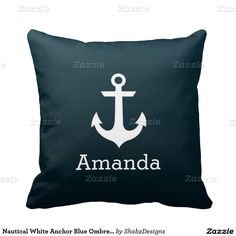 Nautical White Anchor Blue Ombre Personalized Name Pillows