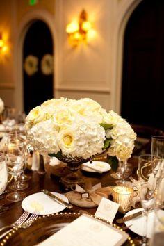 Ivory Hydrangea Rose Wedding Centerpiece