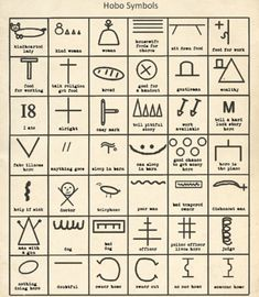 Secret: Some of the symbols used by hobos to help their fellow travellers in America.