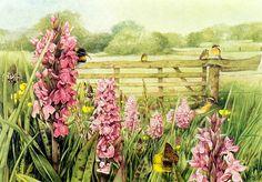 Country scene with flowers by Marjoleine Bastin