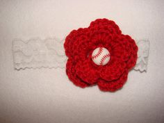 Crochet baby girl baseball lace headband with crochetted flower red white, bow hat handmaded 0-3 months shower gift photo prop