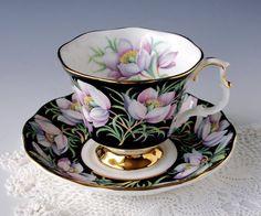 "Royal Albert ""Prairie Crocus"" Tea Cup and Saucer, Teacup Set, English Bone China, England, Lavender Floral, Gainsborough Shape, Vintage 1975"