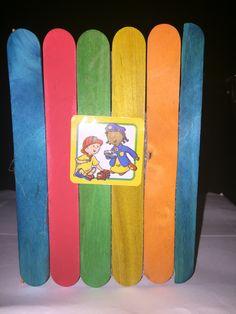 Styrofoam with craft sticks and Caillou sticker