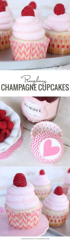 Champagne & Raspberry Cupcakes | #champagne #cupcakes #raspberry