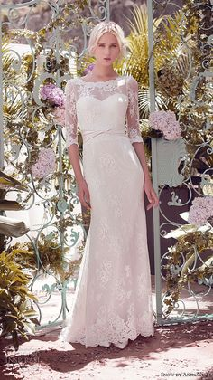 snow by annasul y 2016 bridal gowns half sleeves illusion boat sweetheart neckline lightly embellished lace elegant sheath wedding dress (sa3054b) mv