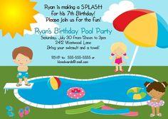 Splish Splash Free Printable Summer Party Invitation Template