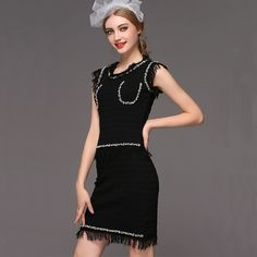 LUXURY women's beading tassel one-piece dress autumn brand designer dress classy runway dress black US $69.99 /piece To Buy Or See Another Product Click On This Link  http://goo.gl/IdJFhm