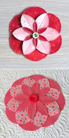 Sewing Fabric Flowers Easy decorations - learn how to sew these fabric folded flowers. - Learn to sew fabric folded flowers with petals in ANY SIZE you need. Easy Sewing Projects, Sewing Projects For Beginners, Sewing Crafts, Sewing Ideas, Fun Projects, Sewing Hacks, Quilting Tips, Quilting Tutorials, Sewing Tutorials