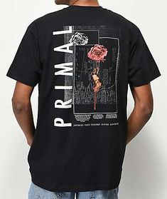 Give your daily casual style an abstract upgrade with the Empyre Primal Black T-Shirt. All-black throughout the majority, this shirt features a tagless construction to maximize comfort and is highlighted by rose graphics screen-printed at the left chest a Shirt Logo Design, Tee Shirt Designs, Tee Design, Mask Design, T Shirt Logo, Graphic Design, Graphic Shirts, Printed Shirts, Aesthetic Shirts