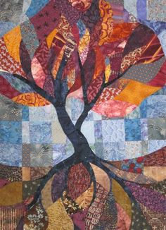 """Tree of Life, 44.5"""" x 34.5"""", art quilt by Carrie at Chez Tuna"""