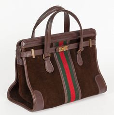 Rare 1970s Gucci Brown Suede Doctor's Bag Handbag w/Iconic Gucci Racer Stripe | From a collection of rare vintage top handle bags at https://www.1stdibs.com/fashion/handbags-purses-bags/top-handle-bags/