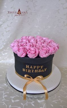 """Simple elegant cake with sugar roses to birthday for young lady in style """"Milion roses"""" Birthday Cake Roses, 25th Birthday Cakes, Adult Birthday Cakes, Birthday Cakes For Women, Chanel Birthday Cake, Cakes For Ladies, Birthday Cake Designs, Birthday Ideas, Birthday Cards"""