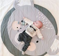 Kids Baby Infant Letter Print Game Play Mat Round Cotton Crawling Pad Carpet