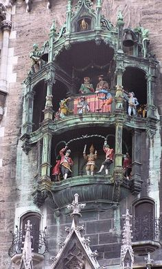 """Glockenspiel, Munich, Germany Situated in the picturesque Marienplatz in Munich, this ornate clock tower is the biggest of its kind in Germany. There are 43 bells in total with a weight range of 20 to 2600 lbs. The figures recreate a dance in rememberance of the """"Schaffler's dance"""" during the hardest years of the plague in 1515-1517."""