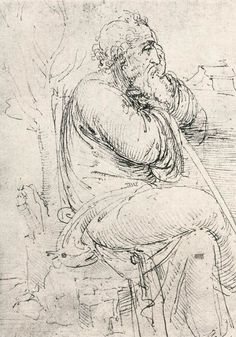 Page: Seated old man Artist: Leonardo da Vinci Completion Date: c.1510 Place of Creation: Milan, Italy Style: High Renaissance Genre: sketch and study Technique: ink Material: paper Gallery: Royal Collection, Windsor Castle, London, UK
