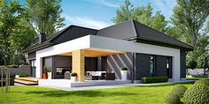 Projekt domu HomeKONCEPT 27 by HomeKONCEPT Modern Bungalow Exterior, Stone Exterior Houses, Main Entrance Door Design, One Storey House, Beautiful House Plans, Suburban House, Small Modern Home, Bungalow House Plans, Porche
