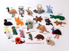 AUSTRALIAN ANIMALS Australian Gifts, Australian Animals, Fabric Toys, Felt Fabric, Aussie Christmas, Handmade Felt, Felt Toys, Felt Ornaments, Felt Animals