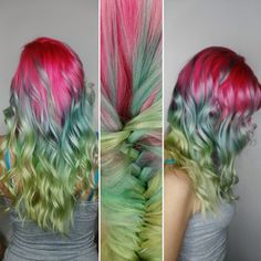 Creative color melt ombré in pink blue and green by Shimona Henry