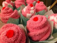 The Thriftiness Miss: #DIY Baby Shower Game Prize - Sock Cupcakes #PartyFavors