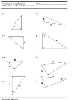 Free Trigonometry Worksheets | Discover more best ideas about ...