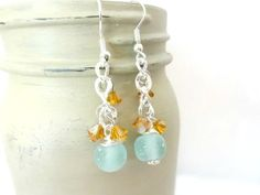 Aqua Blue Sea Glass Dangle Earrings with Tangerine by YoursTrulli, $16.00