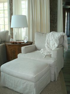 I love the soft grey fabric with off white mini welt!  This would look amazing on your den sofa.