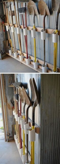 Storage of PVC pipe tools Simple organizational ideas for home DIY garden… - Diyprojectsgardens.club - Storage of PVC pipe tools Simple organizational ideas for home DIY garden … - Garden Tool Storage, Shed Storage, Garden Tools, Storage Hacks, Organization Hacks, Storage Solutions, Laundry Storage, Pvc Pipe Storage, Organizing Ideas