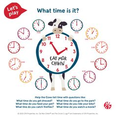 The Cows need a little help – is it time to eat more chicken?  Share this activity with your kids and see if they can help the Cows tell time.