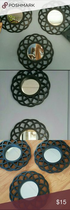 Set of 3 Black Wall Mirrors ♢Set of 3 black flower wall mirrors ♢Great accent for your home ♢Measure 10 inches in diameter Other