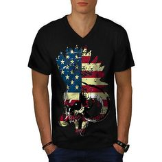 #American usa skull #horror flag men v-neck #t-shirt s-2xl new | wellcoda,  View more on the LINK: http://www.zeppy.io/product/gb/2/291861951666/