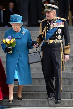 We saw an unusual and touching sight as Prince Philip helped the Queen descend the steps of the cathedral. Several onlookers noted Her Majesty looked quite tired today.  The Royals Attend Service of Commemoration at St Paul's Cathedral: