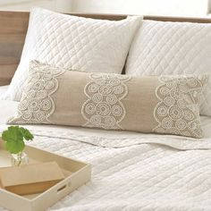 Argyle French Knot bedding. A clean-and-modern take on a preppy favorite in a fine cotton quilt & shams. Ooh, la la. These fine linen decorative pillows feature detailed cotton embroidery on a soft, elegant background. Find it ...at Mary's
