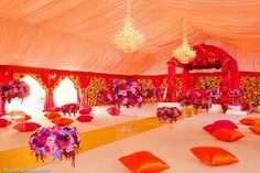 Sikh Ceremony love the colors peach, fuchsia, purple, pink. Fab draping and tent