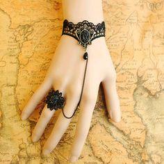 Gothic Lolita BLACK LACE bracelet Mirror w chain n ring Vampire style Costume Party Goth crispy. $10.99, via Etsy.