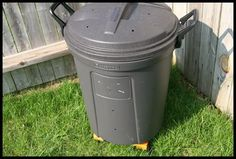Simple composter anybody can make: Large trash can with lid that locks on ·  Platform of some sort (for ventilation) ·  Drill with large drill bit Roll a couple of times a week with lid locked