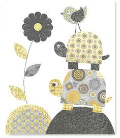 Printable Nursery Art Grey Gray and Yellow by SweetPeaNurseryArt, $6.00