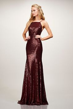 Burgundy sequin gown