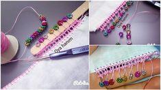 Dondurma Çubuğuyla Boncuklu Oya Yapılışı Crochet Crocodile Stitch, Hanger, Hair Styles, Beauty, Squares, White Handbag, Crochet Flowers, Hair Plait Styles, Clothes Hanger