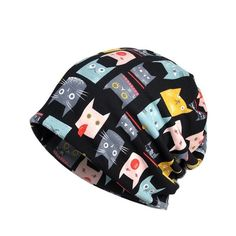 Autumn Winter Running Cap Scarf Simple Style Cat Printed Breathable Stretch  Hat Neck Warmer 149ee61240cf