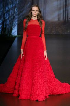 Long red wedding dress with textured skirt | Ralph and Russo Autumn/Winter 2015 - 2016 wedding dress collection via @onefabday