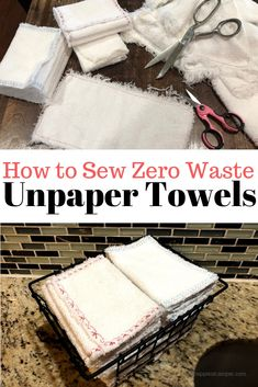 How to sew zero waste unpaper towels. This project could not be easier, and it saves my family a ton! Step by step instructions with photos to make zero waste unpaper towels. It's easy to reduce your paper consumption and save money. Easy Sewing Projects, Sewing Projects For Beginners, Sewing Tutorials, Sewing Hacks, Sewing Crafts, Sewing Patterns, Sewing Tips, Sewing Ideas, Serger Projects