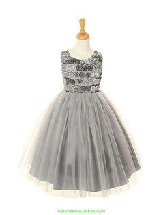 Embroidered Taffeta Tulle Girl Dress with Velvet Jacket