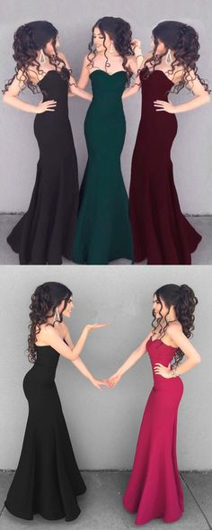 Simple Satin Sweetheart Mermaid Corset Prom Dresses 2018 Long Bridesmaid Dress