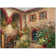 Trademark Fine Art Tuscany Courtyard Canvas Art by Rio, Multicolor